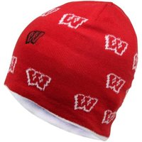 NCAA adidas Wisconsin Badgers Ladies Allover Logo Reversible Knit Hat - True Cardinal/ Cream