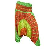 Mogul Women's Alibaba Harem Pant Green Mandala Print Romper Trousers