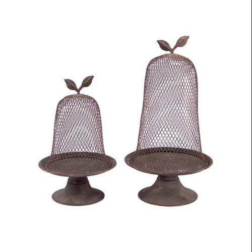 "Pack of 4 Garden Getaway Classic Cloche Pillar Candle Holders 15.5"""