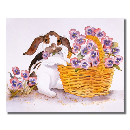 Bunny Rabbit Picking Pansies from Basket Flower Wall Picture 8x10 Art - Bunny Prints