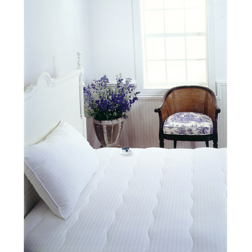 Serta 233-Thread-Count Dobby Stripe Warming Mattress Pad, White