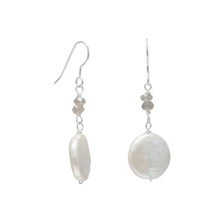Sterling Silver French Wire Earrings Cultured Freshwater Baroque Pearl Labradorite Drops