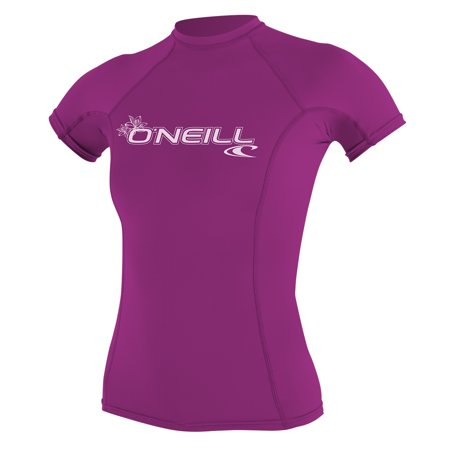 O'NEILL WOMEN'S BASIC 50+ SHORT SLEEVE RASH GUARD Fox Pink , Size Large