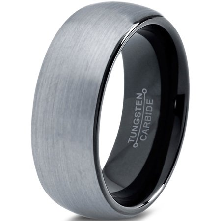 Charming Jewelers Tungsten Wedding Band Ring 8mm for Men Women Comfort Fit Black Domed Round Brushed Lifetime Guarantee Artcarved Wedding Bands Round Ring