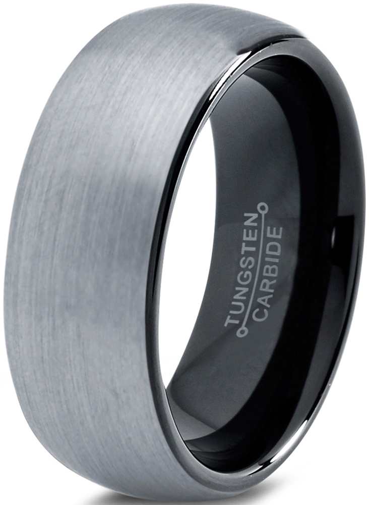 Charming Jewelers Tungsten Wedding Band Ring 8mm for Men Women Comfort Fit Black Domed Round Brushed Lifetime Guarantee