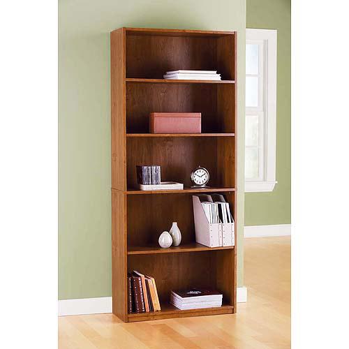 Mainstays 5 Shelf Bookcase, Alder