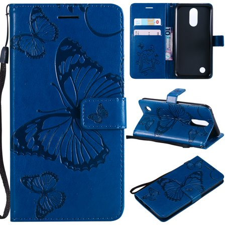 - LG K20 Plus Case, LG K20 V Case, LG K10 2017/ LG V5/ Grace LTE Case, Allytech Wrist Strap Flip Kickstand PU Leather Wallet Cover Embossed Butterfly with ID & Credit Card Holder, Blue