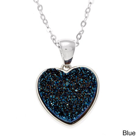 Sterling Silver Druzy Heart Necklace