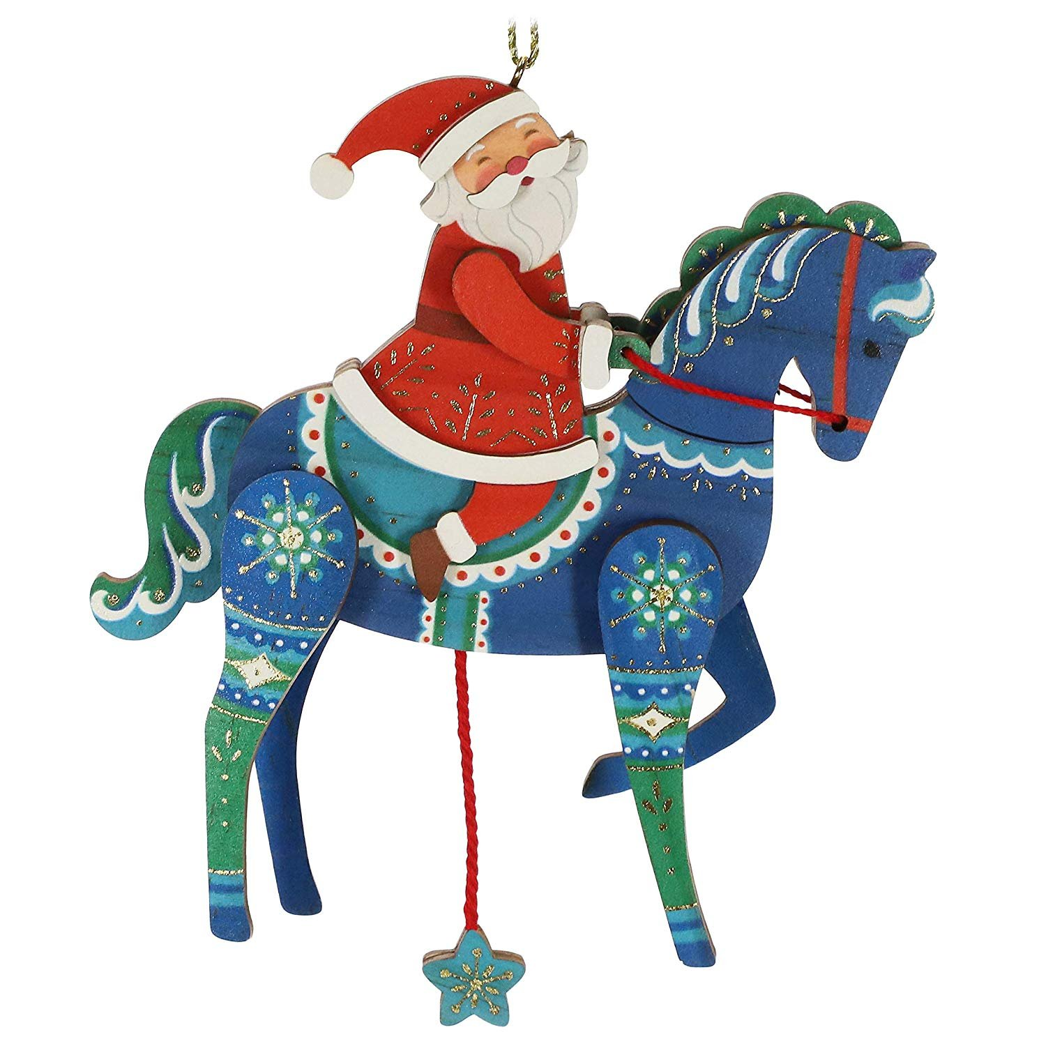 Hallmark Keepsake Pull-String Horse with Santa Ornament ...