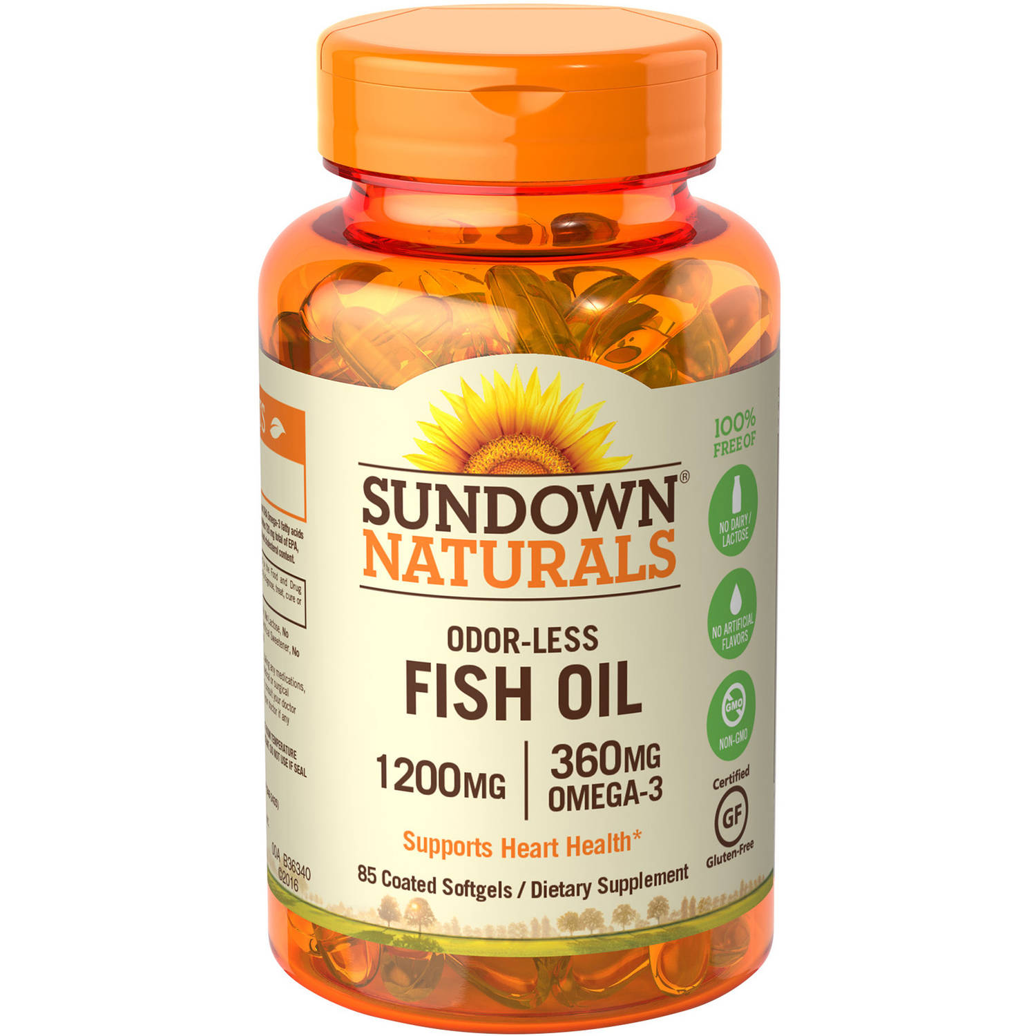 Sundown Naturals Odorless Omega-3 Fish Oil Dietary Supplement Softgels, 1200mg, 85 count