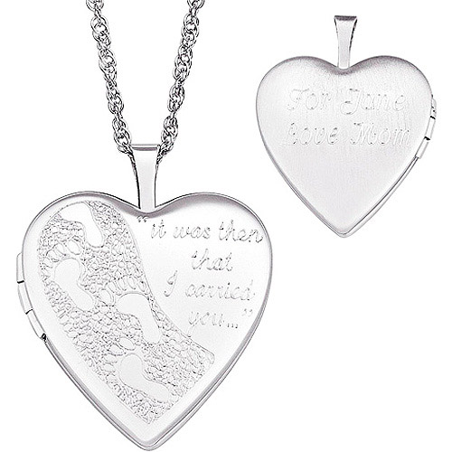 Personalized Footprints in the Sand Sterling Silver Locket