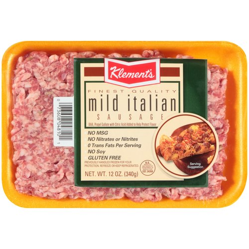 Klement's Mild Italian Ground Sausage Patties, 12 oz