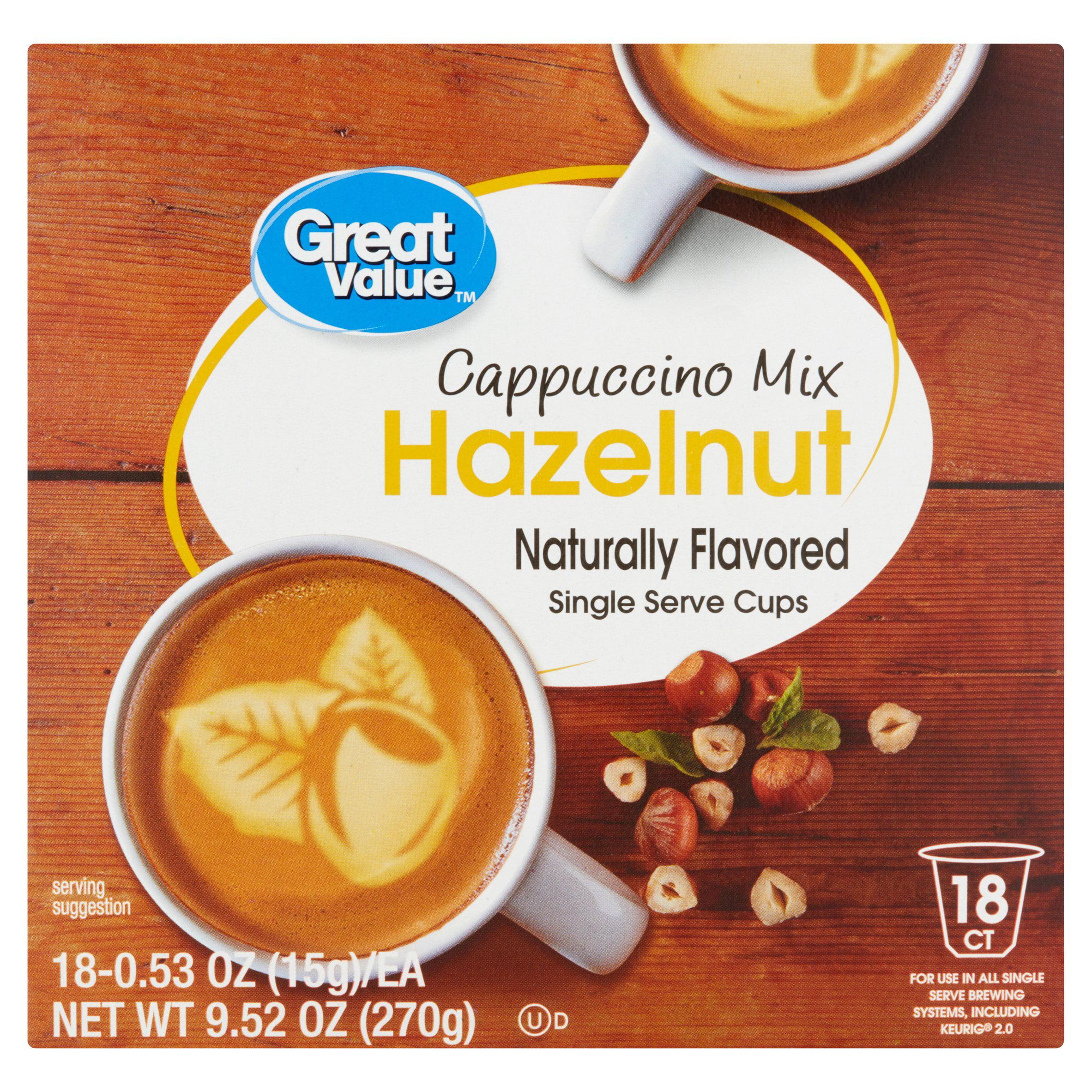Great Value Hazelnut Cappuccino Mix Single Serve Cups, 18 Count    Walmart.com
