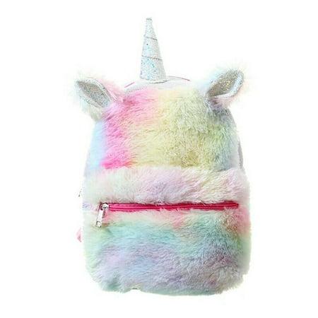 Fancyleo NEW Unicorn Pink Flip Plush Sequins  School Bag Tote Adjustable Straps Backpack