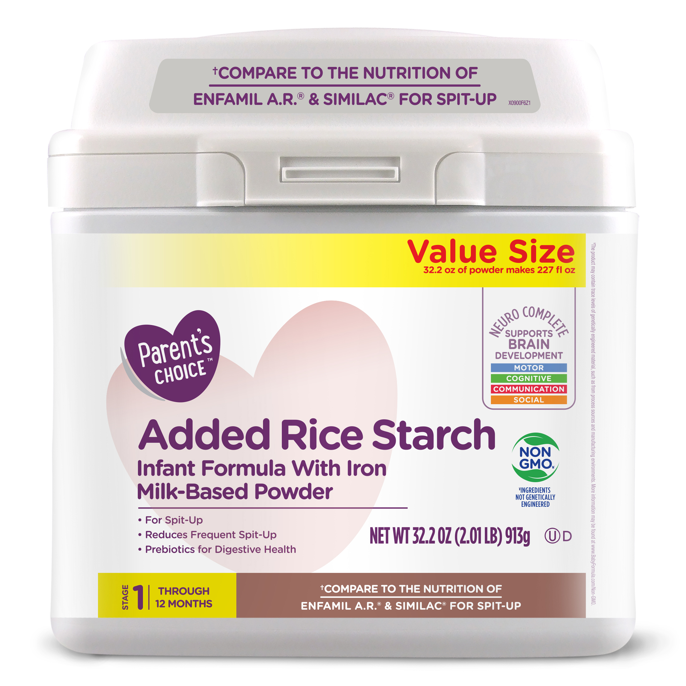 Parent's Choice Added Rice Starch Baby Formula (for help with spit-up) 32.2 oz