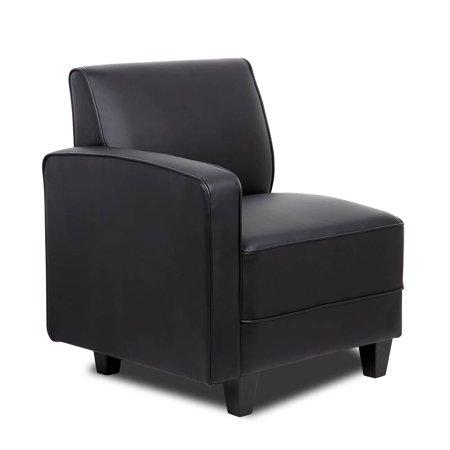 Black Reception Sectional Sofa - Right arm3-Shelf Folding Bookcase in Honey Oak Finish
