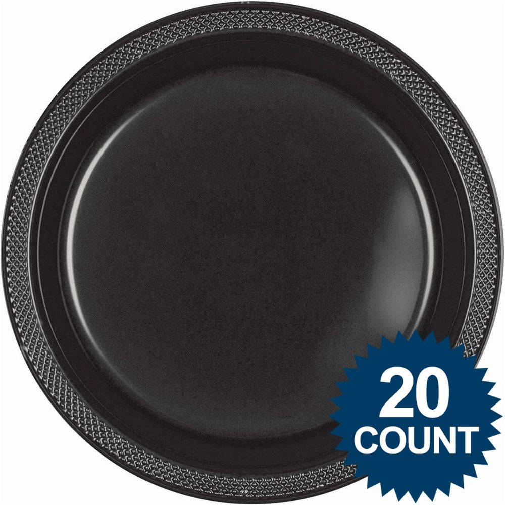 """Black 10"""" Plastic Dinner Plates (20 Pack) - Party Supplies"""