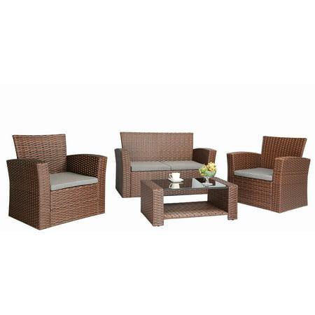 Baner Garden Outdoor Furniture Complete Patio Cushion PE Wicker Rattan  Garden Set  Brown  4. Baner Garden Outdoor Furniture Complete Patio Cushion PE Wicker