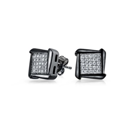 Mens 925 Silver Black Rhodium Plated Micro Pave Stud Earrings