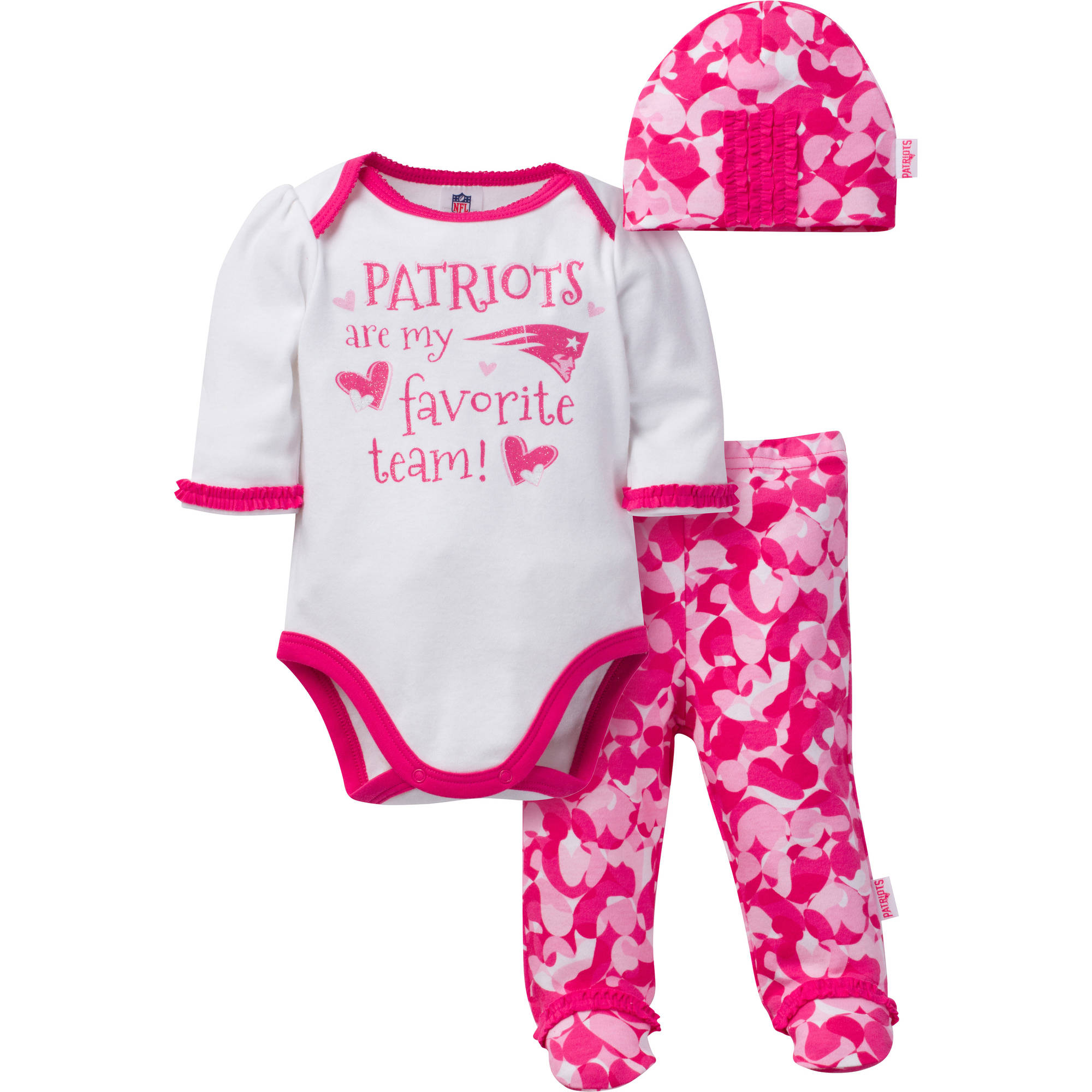 NFL New England Patriots Baby Girls Bodysuit, Pant and Cap Outfit Set, 3-Piece