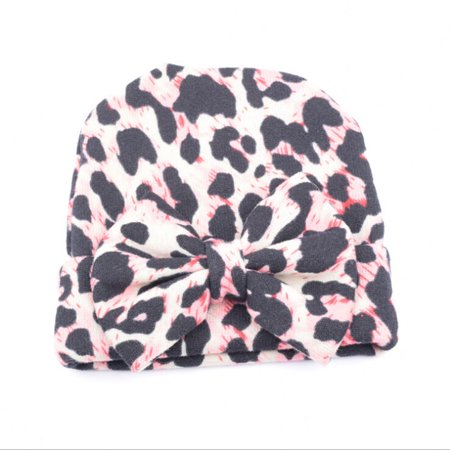 Cute Newborn Baby Infant Girl Toddler Comfy Bowknot Hospital Cap Beanie Hat Leopard (Leopard Beanie)