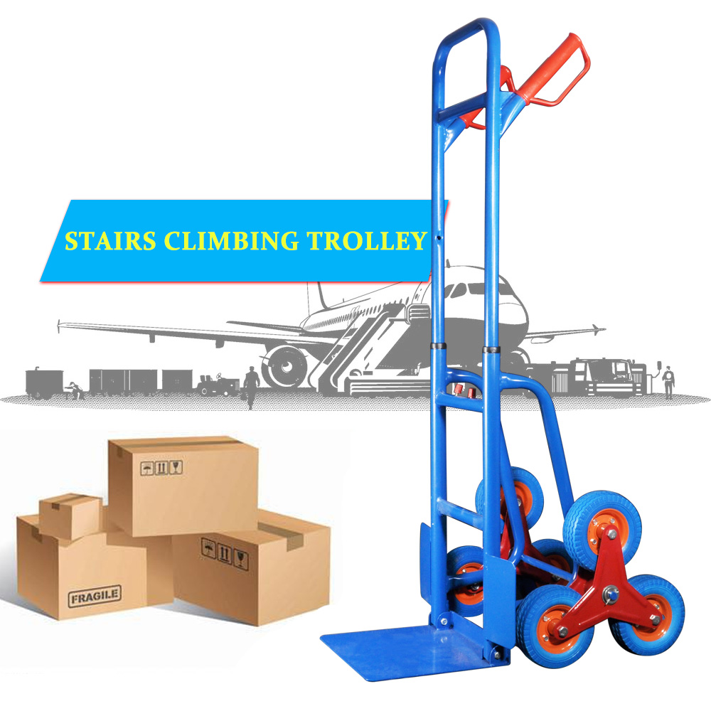 EECOO 440lbs Hand Truck 6 Wheel Stair Climber Moving Dolly Furniture Utility Cart With PU Solid Wheel Commercial Quality