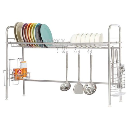 NEX Single Layer Adjustable Stainless Steel Dish Rack With Utensil And Chopstick Holder, S-Hooks, Storage Basket, And Draining Tray