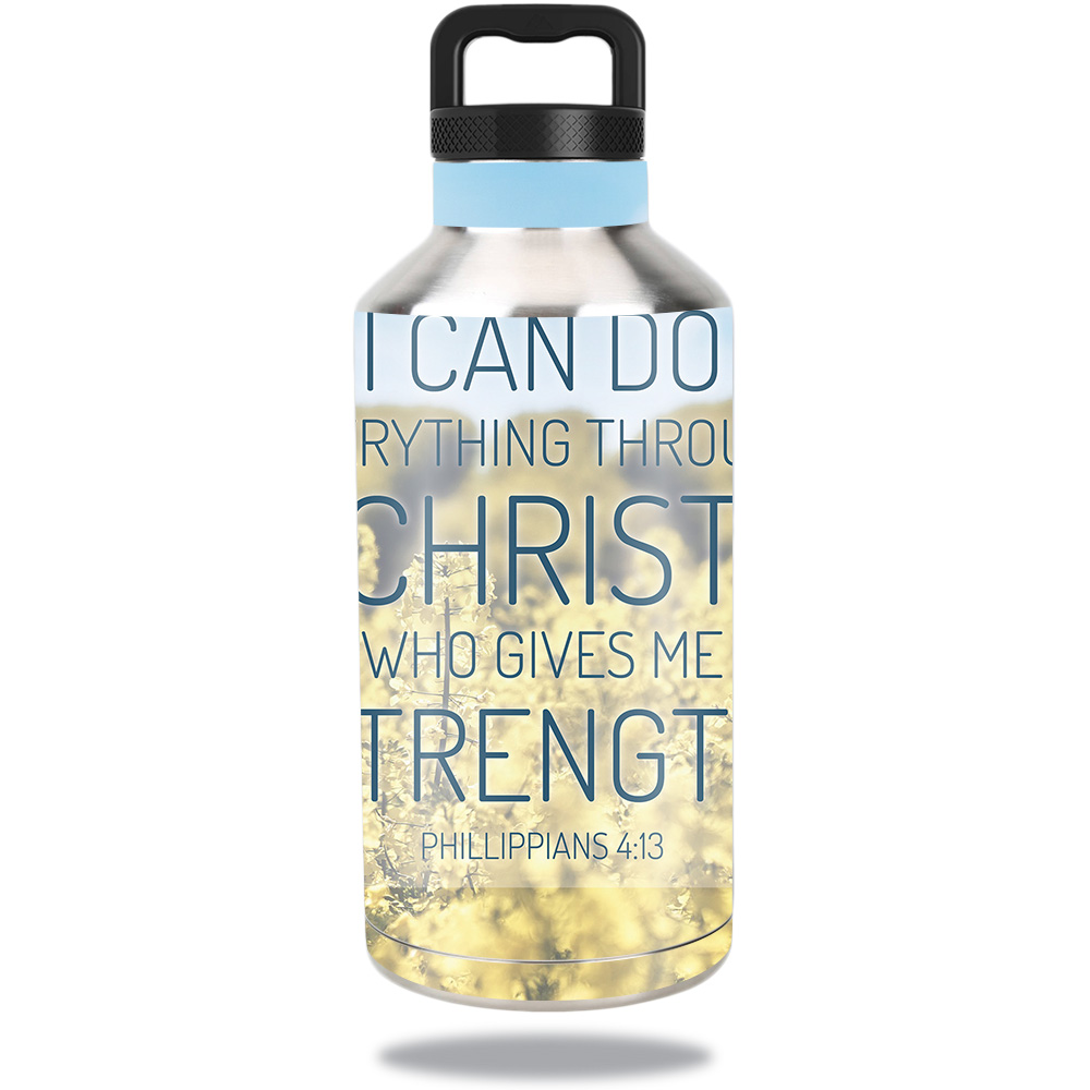 Skin For Ozark Trail Water Bottle 64 oz – Through Christ | MightySkins Protective, Durable, and Unique Vinyl Decal wrap cover | Easy To Apply, Remove, and Change Styles | Made in the USA