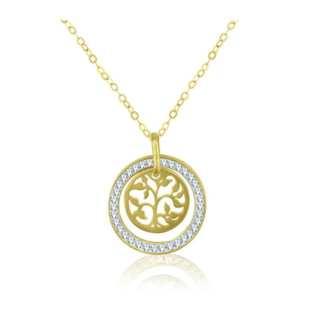 10K Gold Circle with Tree of Life Pendant, (Medium Circle Pendant)