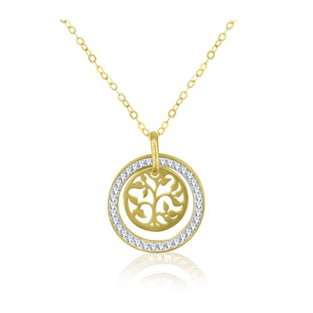 10K Gold Circle with Tree of Life Pendant, 18