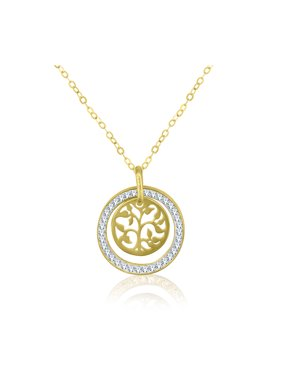 10K Gold Circle with Tree of Life Pendant, 18""