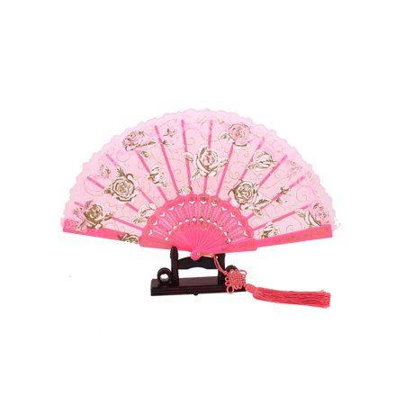 Unique Bargains Floral Print Lace Edge Chinese Knot Folding Hand Fan Pink w Holder