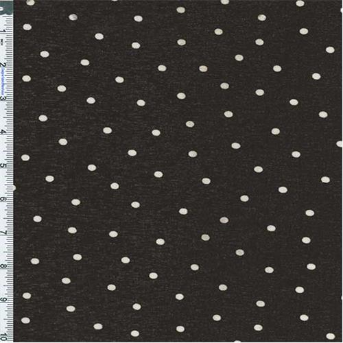 Black Polka Dot Onion Skin Knit, Fabric By the Yard