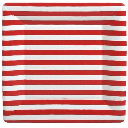 Paper Dinner Plates SQ 8pk Red and White Stripe - Red And White Striped Paper