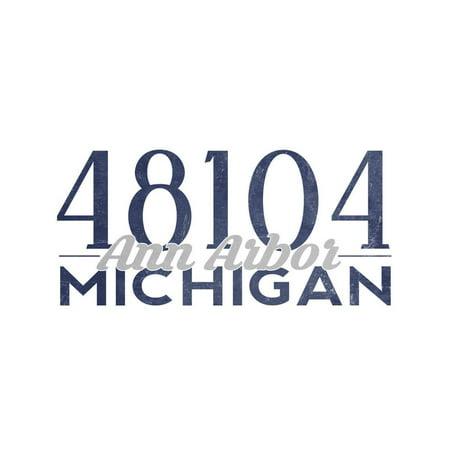 Ann Arbor, Michigan - 48104 Zip Code (Blue) Print Wall Art By Lantern - Party Store Ann Arbor