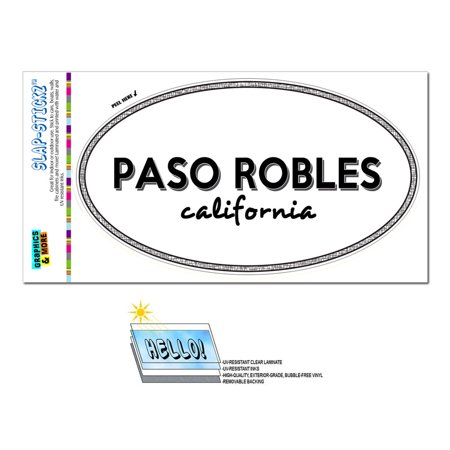 Paso Robles, CA - California - Black and White - City State - Oval Laminated Sticker