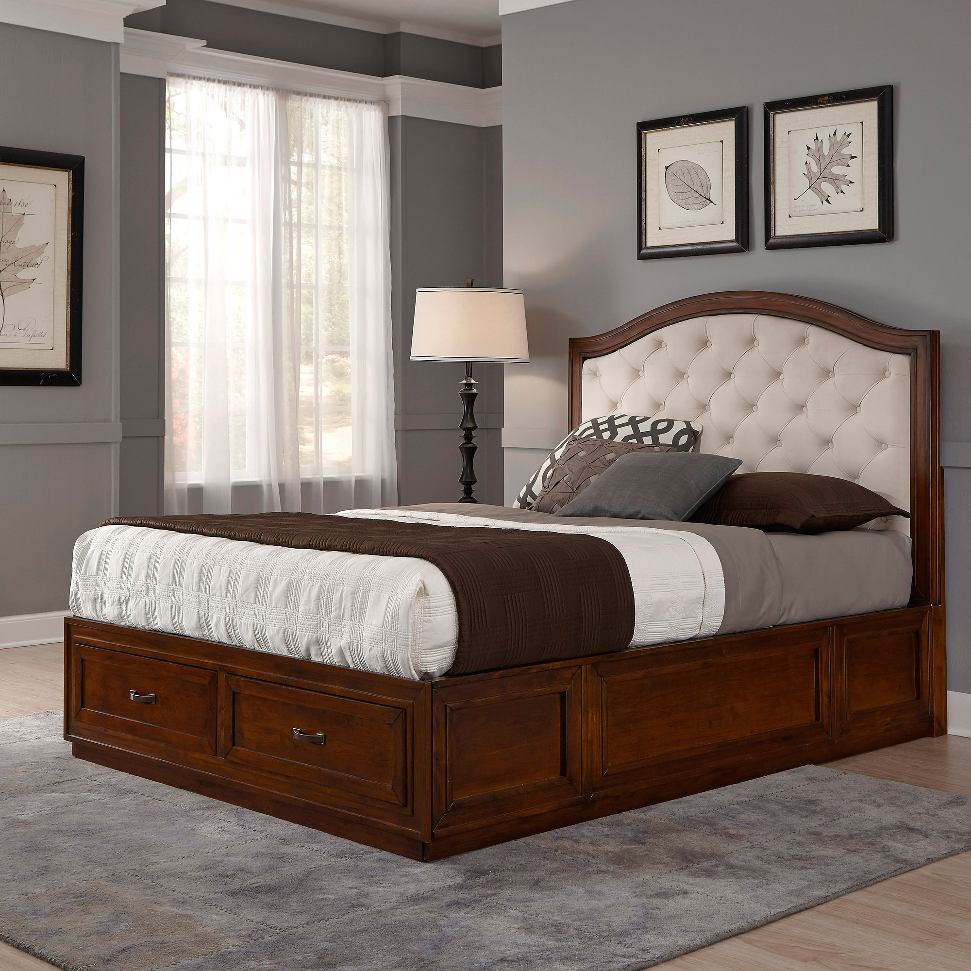 Duet King Tufted Diamond Camelback Bed, Oyster Microfiber