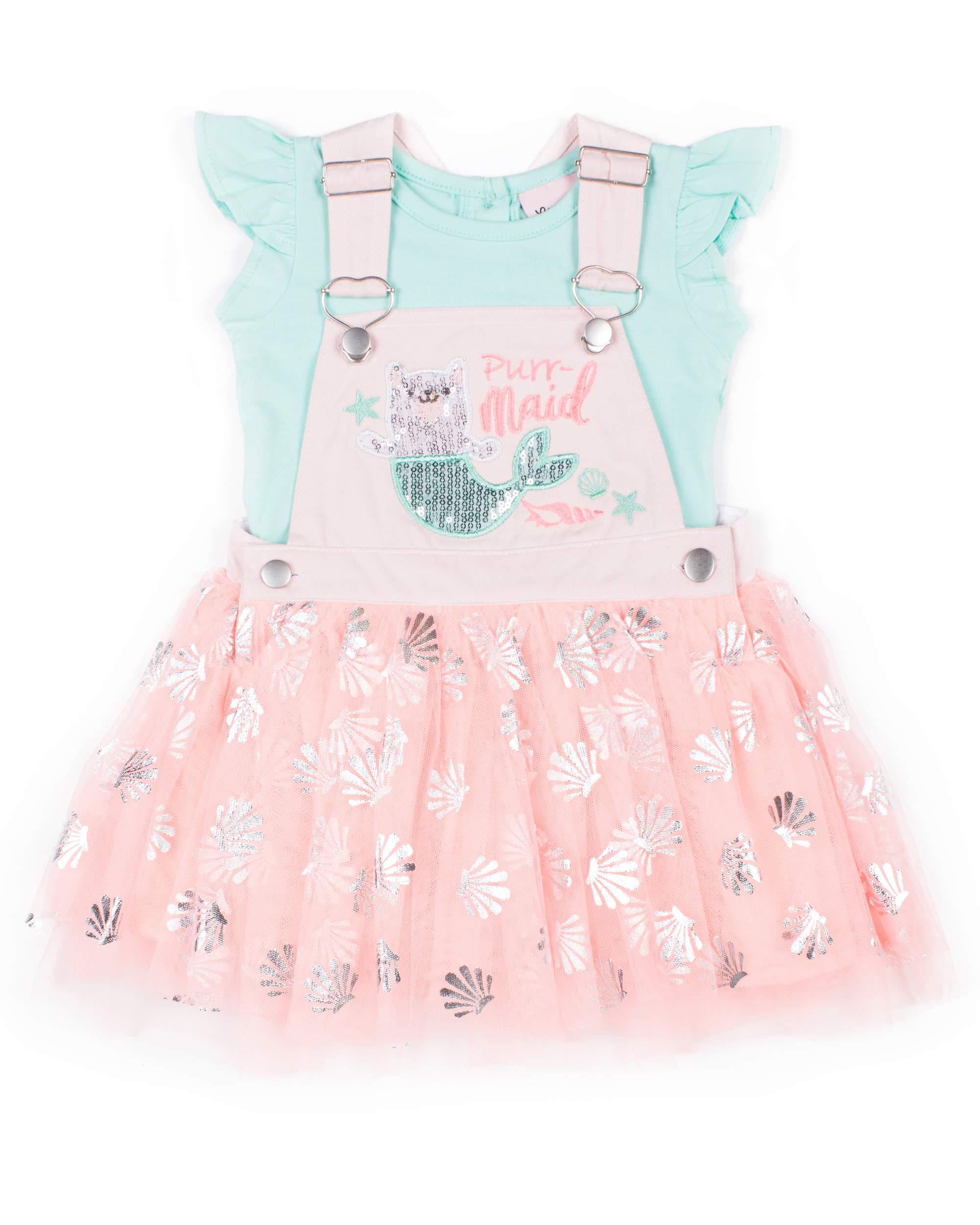 Mermaid Foil Printed Skirtall and Tee, 2-Piece Outfit Set (Little Girls)