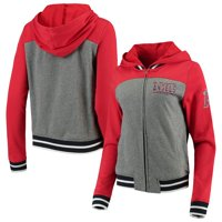 Los Angeles Angels New Era Women's French Terry Full-Zip Hoodie - Gray/Red