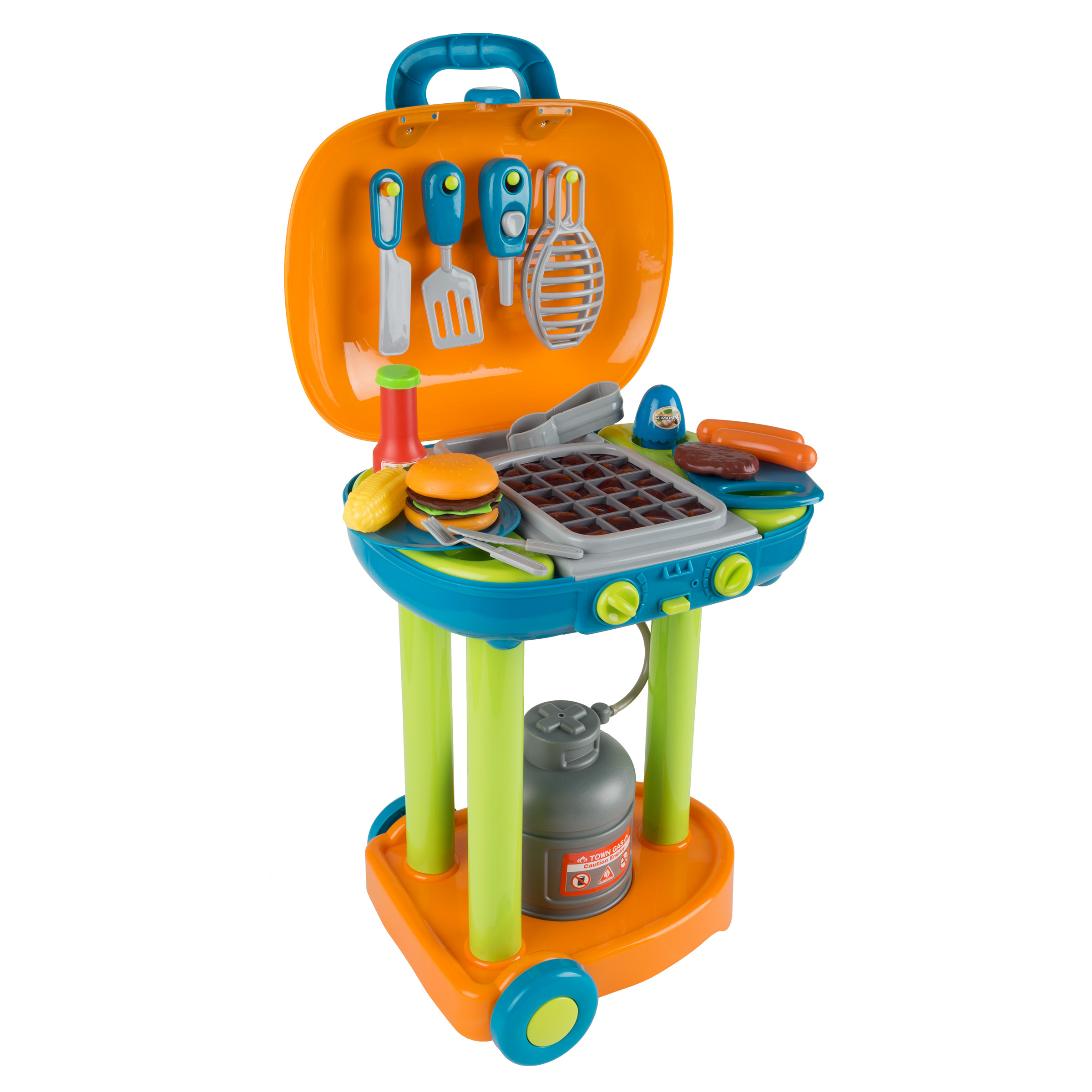 BBQ Grill Toy Set- Kids Dinner Playset with Realistic Sounds and Grate Lights- Includes Barbecue Food and Accessories, Pretend Kitchen by Hey! Play!