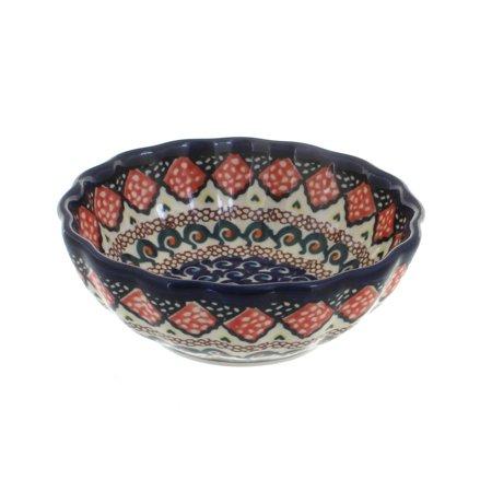 Polish Pottery Blue Horizon Small Scallop Serving (Blue Serving Dish)