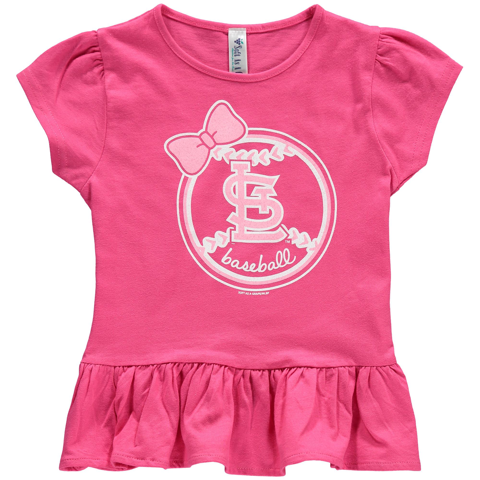 St. Louis Cardinals Soft as a Grape Girls Toddler Ruffle T-Shirt - Pink