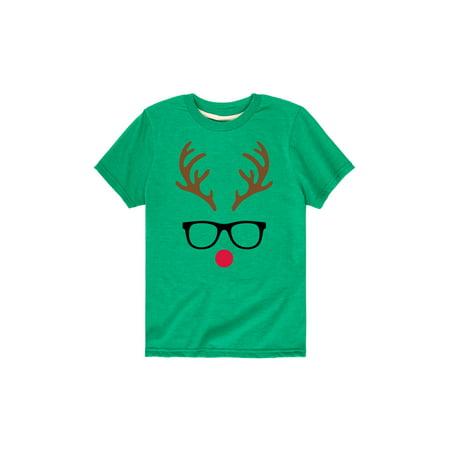 Reindeer Face With Glasses  - Toddler Short Sleeve Tee (Reindeer Face)