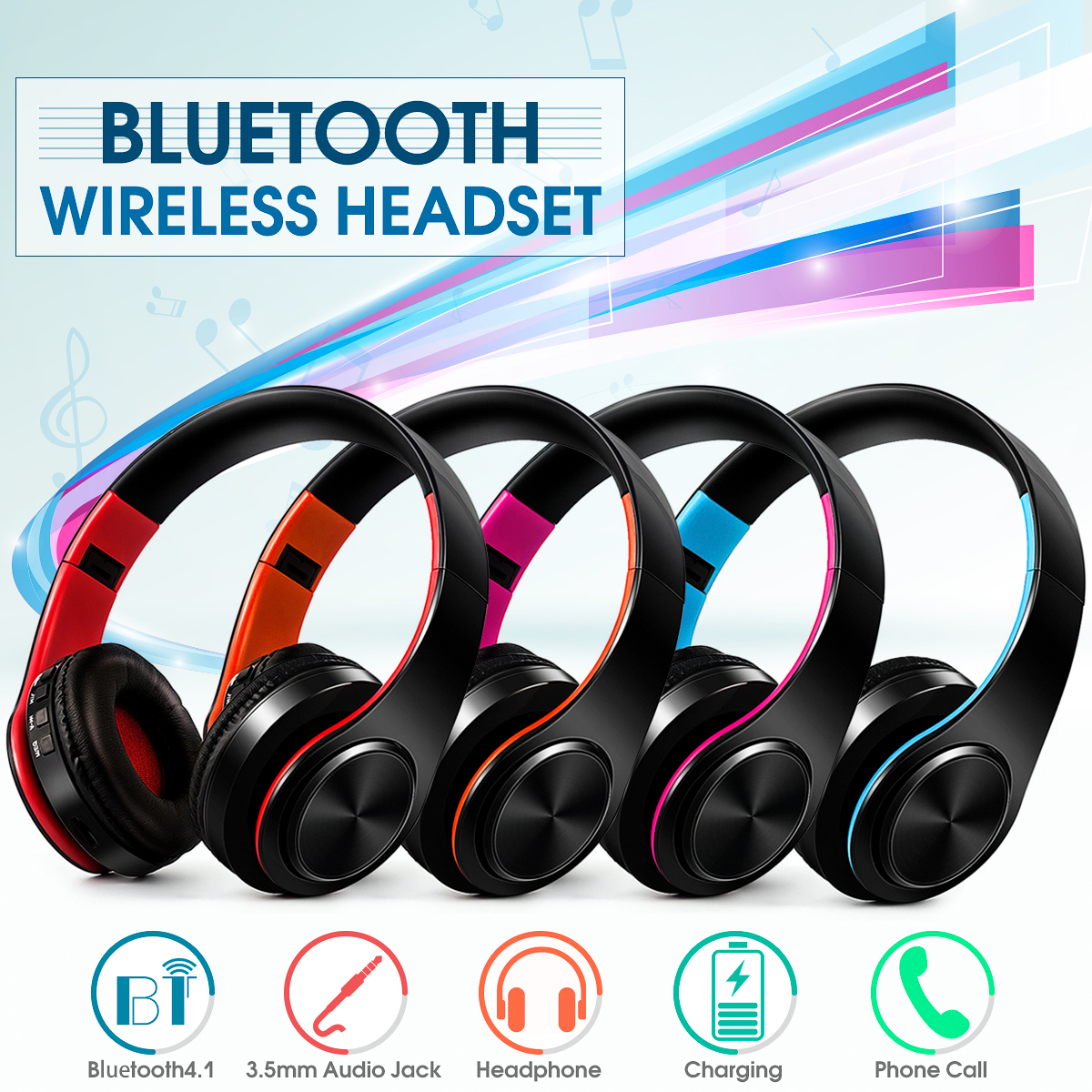 Foldable Noise Cancelling Wireless/Wired Hifi Stereo Bass Bluetooth 4.0 Sport Game Headphone Headset Over Ear Mic & FM Radio TF  AUX for Iphone S amsung Ipad Ipod PC/ Cell Phone/ T