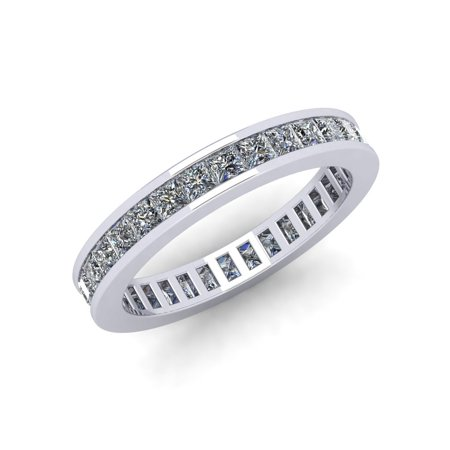 Natural 1.85Ct Princess Cut Diamond Classic Channel Set Women's Anniversary Wedding Eternity Band Ring Solid 10k White Gold G-H I1