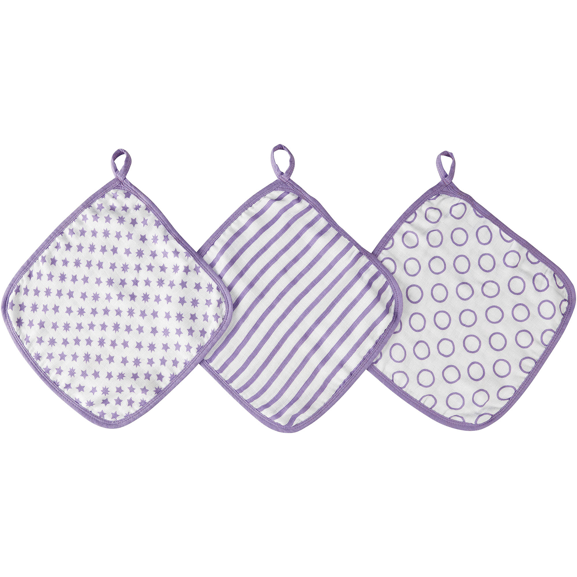 ideal baby by the makers of aden + anais Muslin Washcloths, 3pk, Cherub