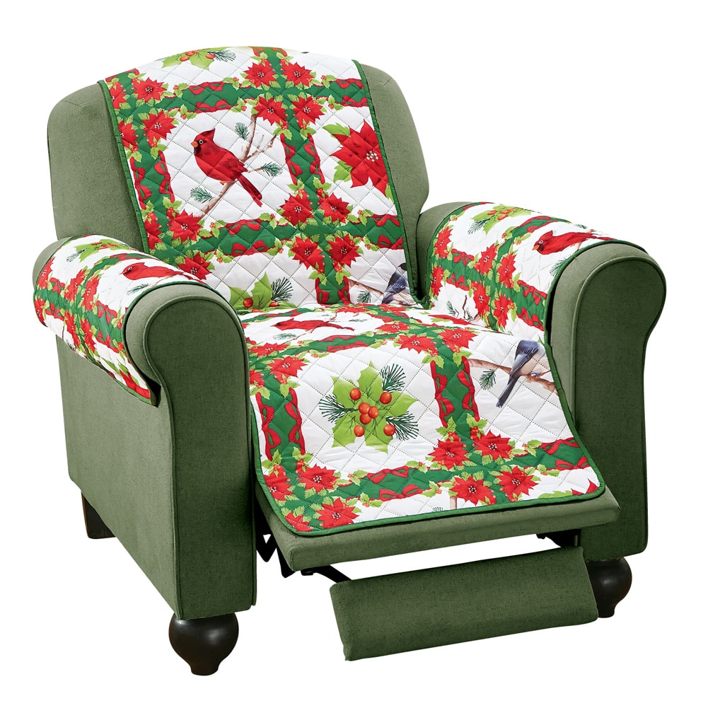 Holiday Birds And Evergreen Furniture Cover, Recliner