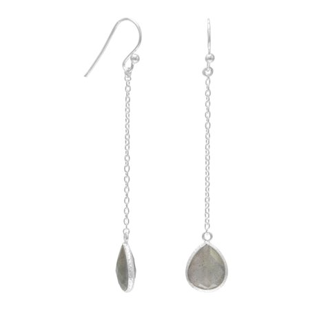 Sterling Silver Chain Drop French Wire Earrings Pear Shape Labradorite Drop Labradorite 10mm X 11mm
