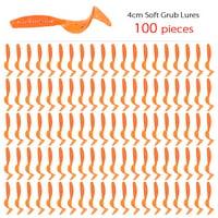 100pcs 4cm Soft Artificial Fishing Lures Swimbait Tail Grub Lures Worm Moggot Grub Lures Baits