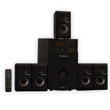 Theater Solutions TS514 5.1 Powered Home Theater Multimedia Speaker System with USB/SD Inputs and FM Tuner